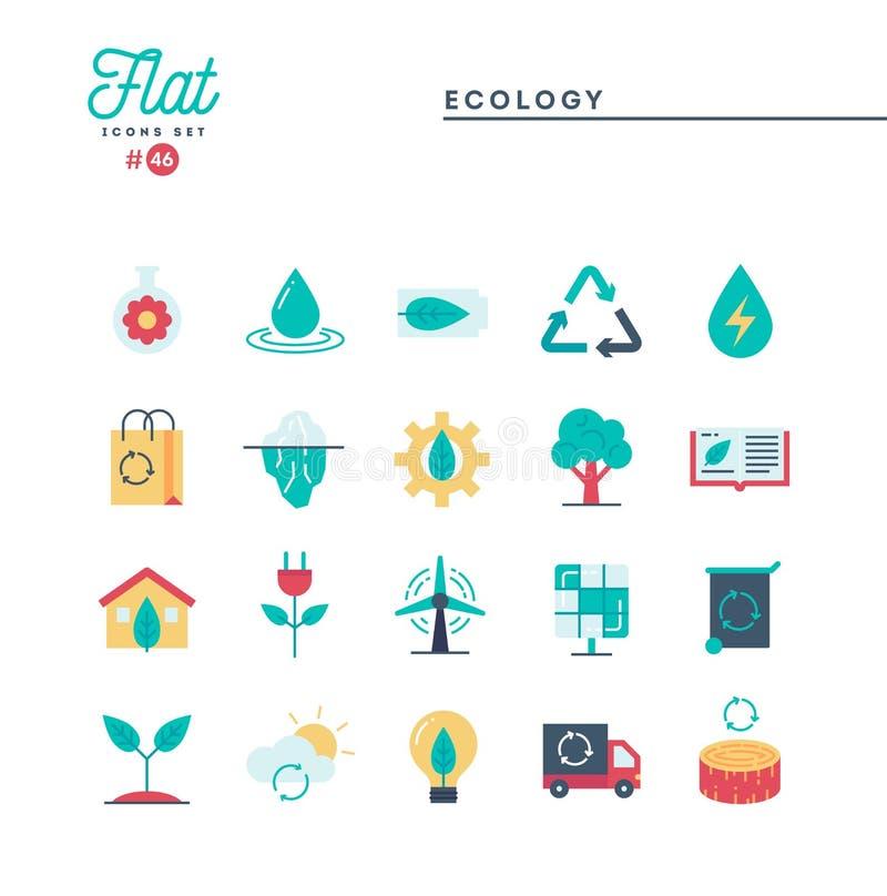 Ecologia, natura, energia pulita, riciclare e più, Se piano delle icone illustrazione di stock