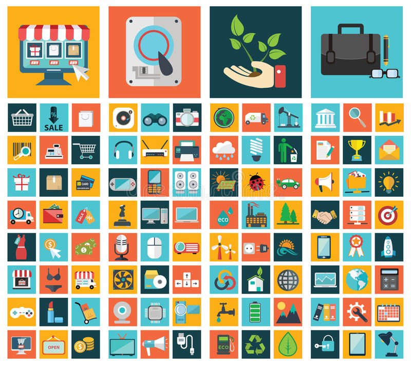 Ecologia, negócio, compra e tecnologia ilustração royalty free