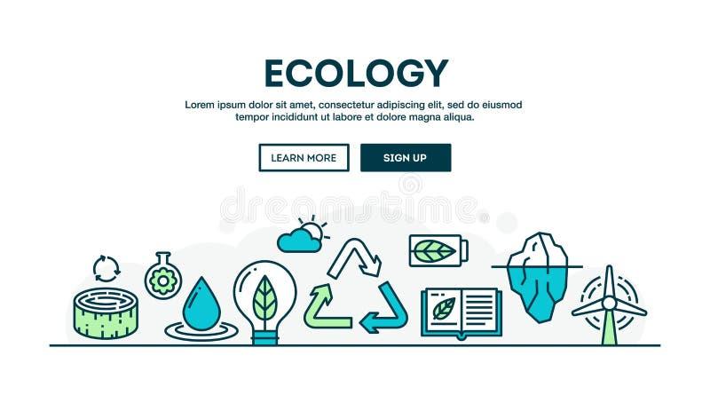 Ecologia, riciclante, ambiente, sostenibilità, concep variopinto illustrazione vettoriale