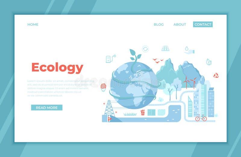 Ecologia, salvar a terra, planeta verde da cidade de Eco, ideias Eco-amigáveis do conceito da conservação Painéis solares, turbin ilustração royalty free