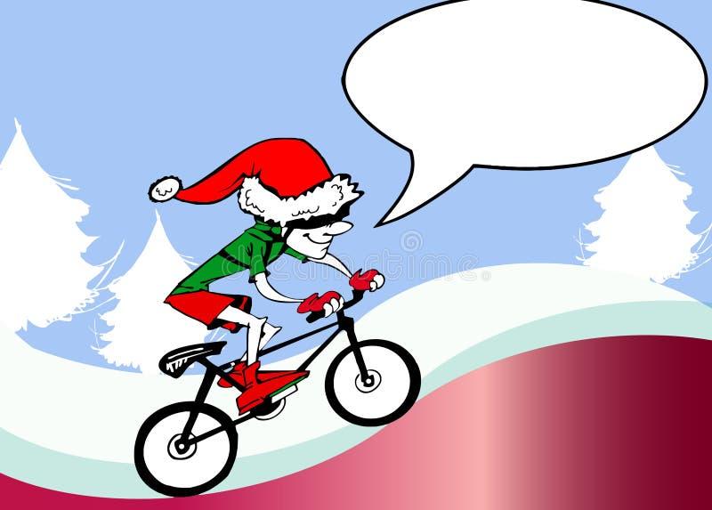 Ecologic Święty Mikołaj jazdy rower ilustracja wektor