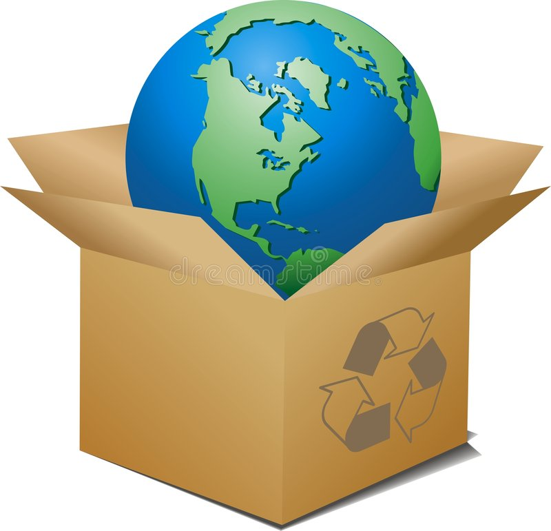 Ecologic box. Vector ecologic box with globe inside royalty free illustration