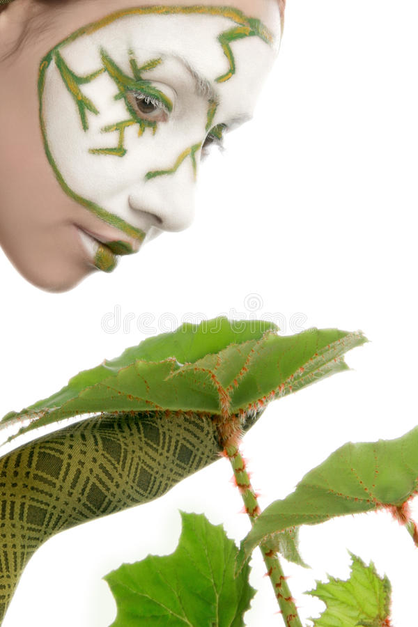 Download Ecologic Concept Woman With Green Plant Stock Photo - Image: 13484100