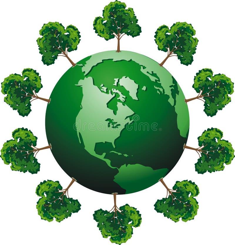 Ecologic globe. Vector ecologic globe with tree royalty free illustration