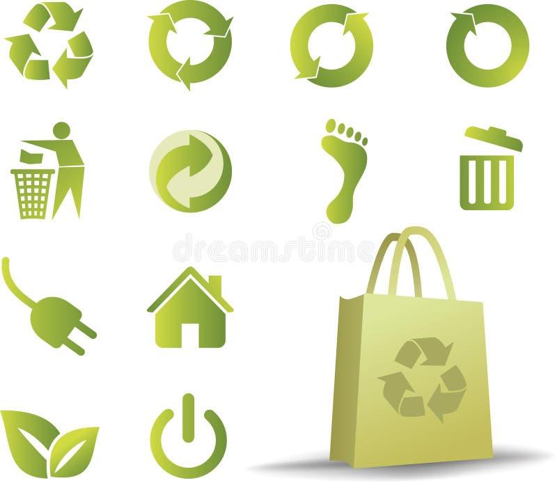 Ecologic icon set royalty free illustration