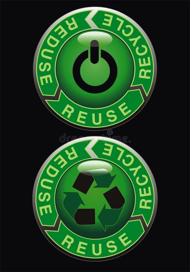 ecologic knapp royaltyfri illustrationer