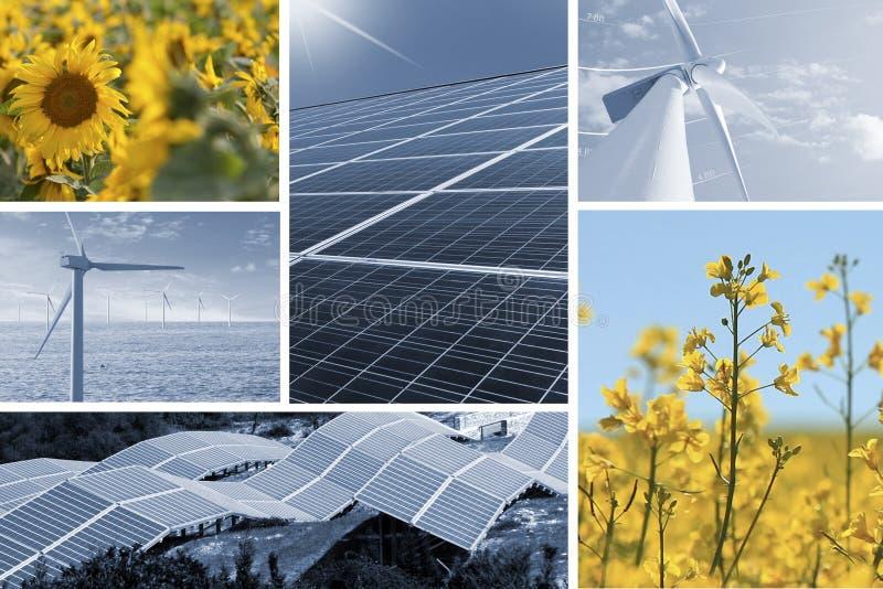 Ecologic och förnybara energikällorcollage royaltyfria foton