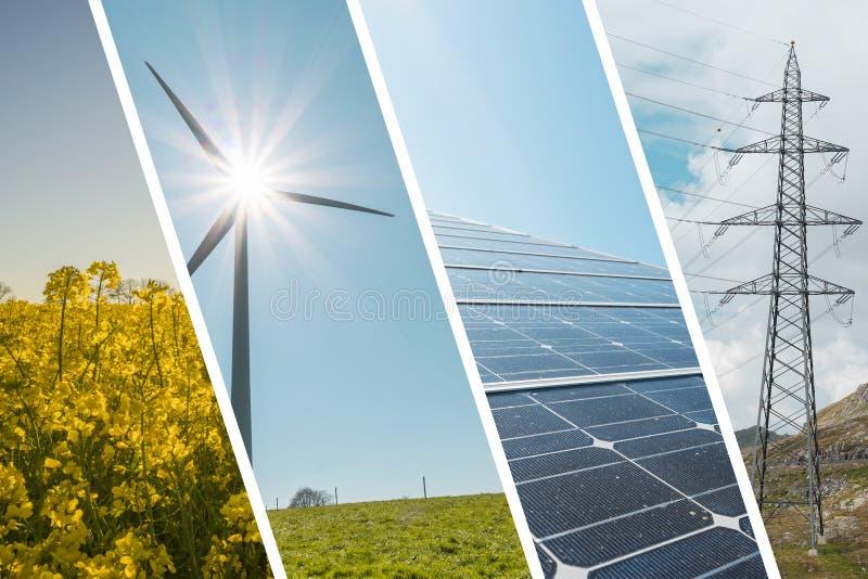 Ecologic och förnybara energikällorcollagebakgrund arkivfoto