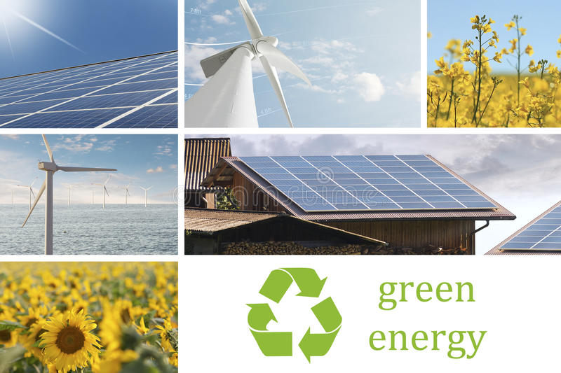 Ecologic and renewable energies collage. Ecologic energy collage with solar cell, windmill, sunflowers, and rapeseed flowers stock photography