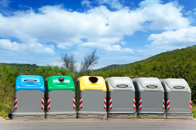 Download Ecologic Selective Trash Containers By Colors Stock Photo - Image: 25407222