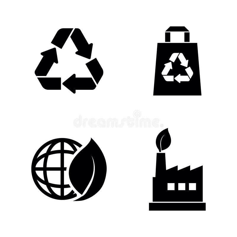 ecological Ícones relacionados simples do vetor ilustração stock