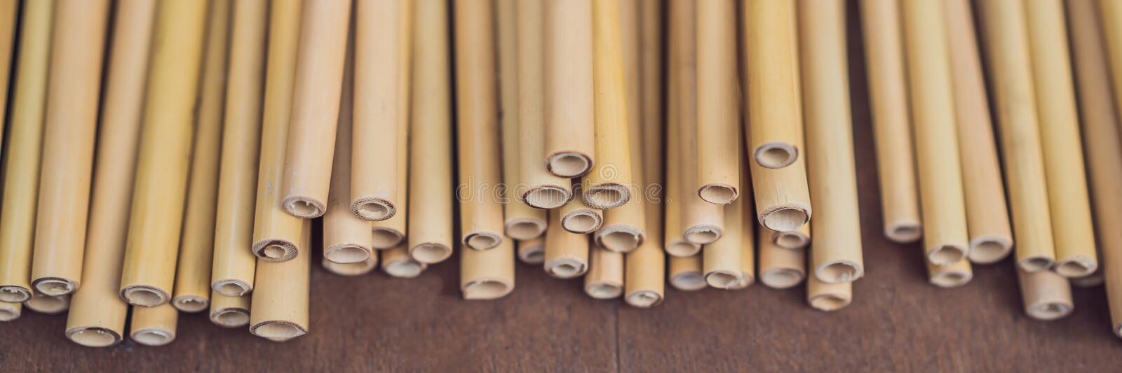 Ecological bamboo straw or bamboo tube for drinking water just say `no` to plastic small and lightweight and as such. Often evade recycling efforts. BANNER stock image
