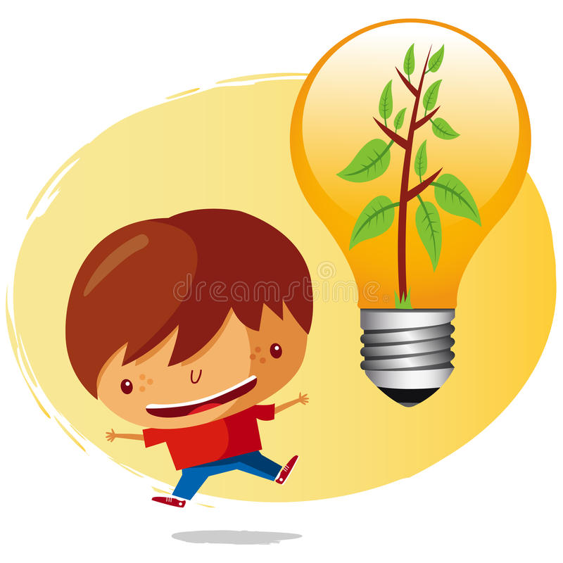 Ecological boy. With a saving bulb vector illustration