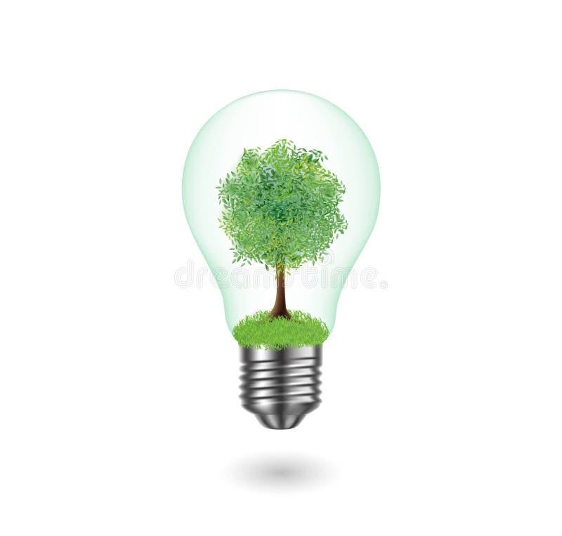 Ecological bulb. Vector tree in bulb on white background. Vector tree in bulb on white background vector illustration