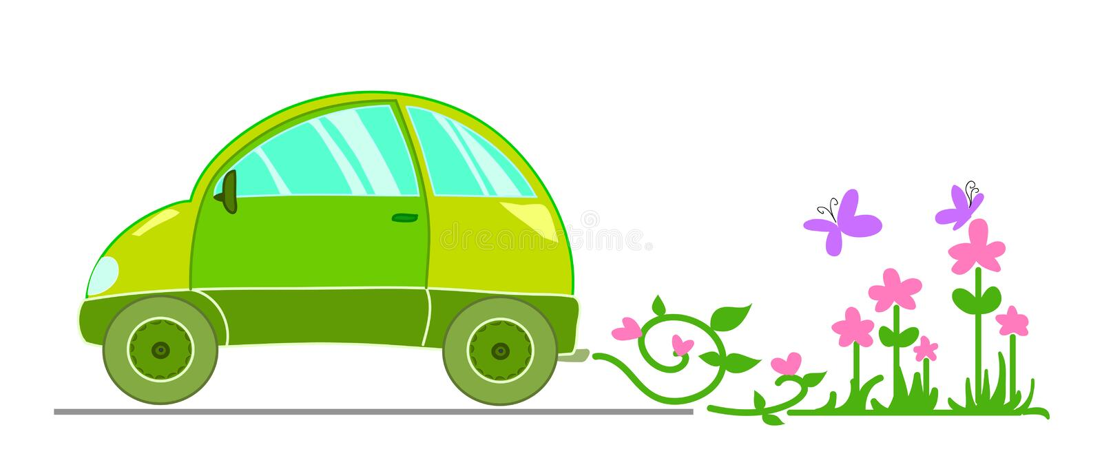 Ecological car. Ecological illustration with stylized green car. Vector image