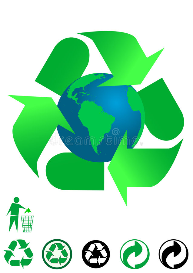 Ecological concept. Background and recycle icons isolated on white background stock illustration