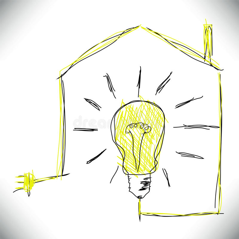 Ecological concept. With bulb and home stock illustration