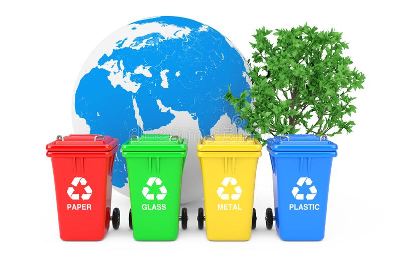 Ecological Concept. Red, Green, Yellow and Blue Recycle Bins with Recycle Symbols, Earth Globe and Green Tree. 3d Rendering. Ecological Concept. Red, Green vector illustration