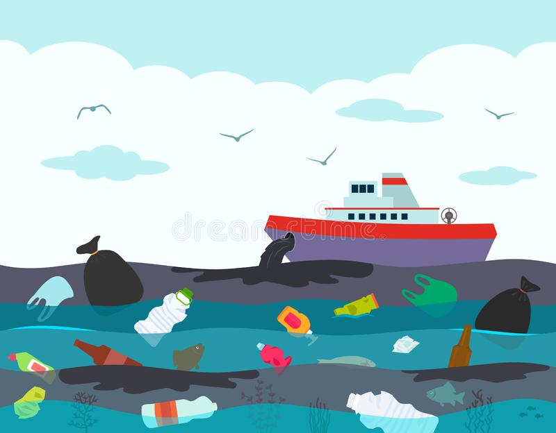 Ecological disaster in the ocean, oil leakage from the ship tanker. against the background of a polluted ocean with. Plastic garbage and oil. Toxic accident on vector illustration