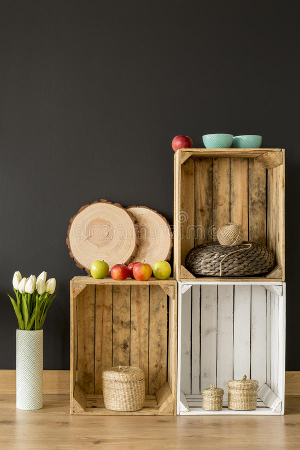 Ecological DIY wooden furniture idea stock photos