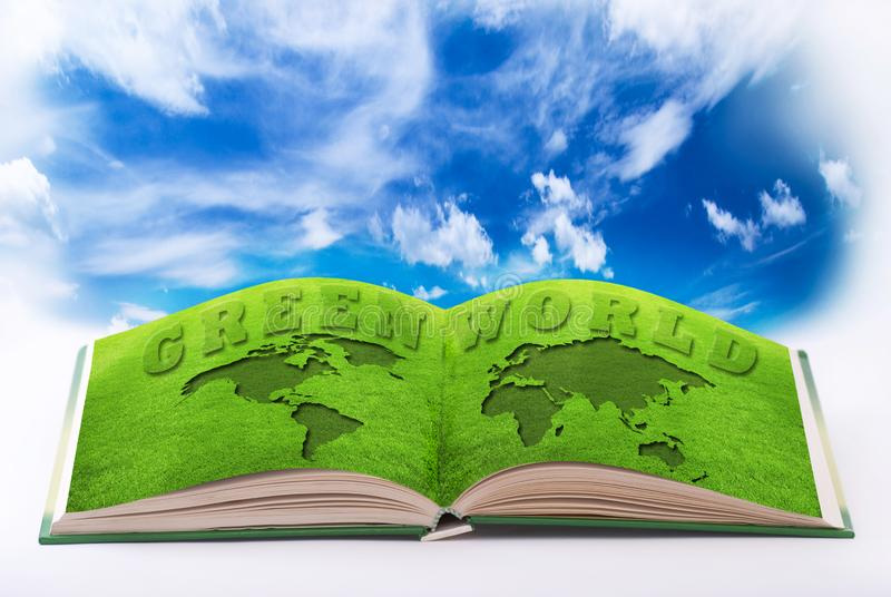 Ecological environment and sustainable development. Open book with pages illustrated by a green world and a serene and ecological environment royalty free stock photos