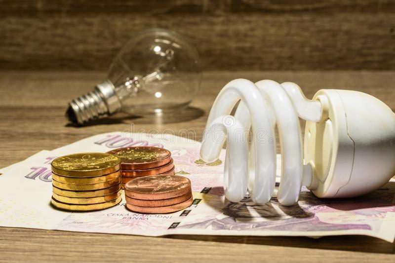 Ecological European tube bulb placed on Czech money stock image
