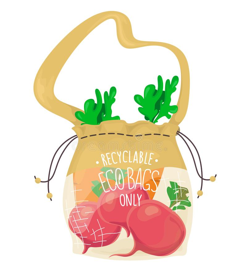 Ecological fabric bag with vegetables. Say no to the plastic. Vector isolate in cartoon flat style. Ecological fabric bag with vegetables. Say no to the plastic vector illustration