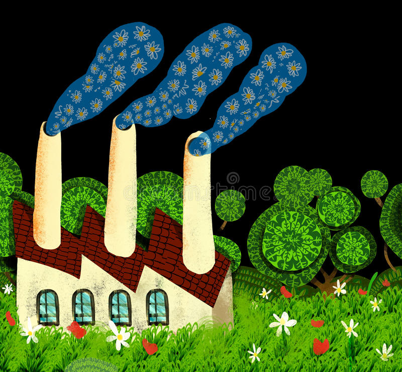Download Ecological Factory Expels Smoke Of Flowers Stock Illustration - Image: 18365697