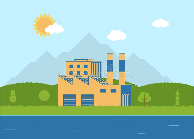Ecological factory near the river. Flat style. Environment. royalty free illustration