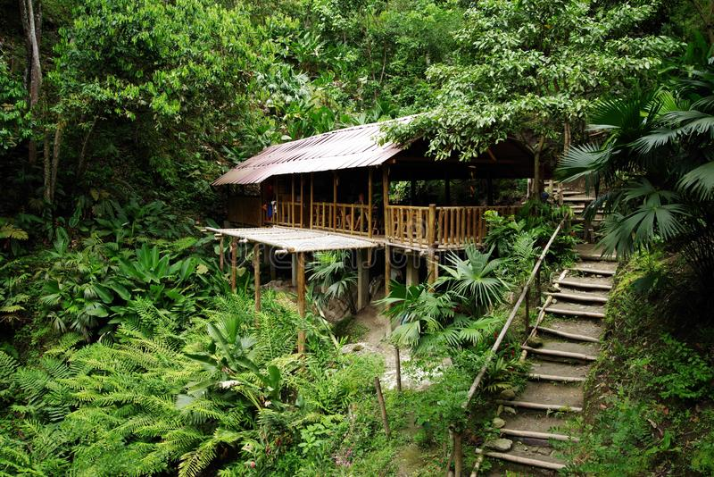 Ecological forest cottage in Minca, Sierra Nevada de Santa Marta Mountain. Minca is a charming village in the Sierra Nevada de Santa Marta, famous for its stock image
