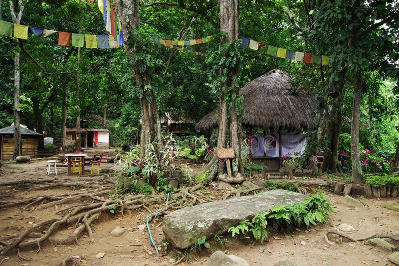 Ecological forest cottages in Minca, Sierra Nevada de Santa Marta Mountain. Minca is a charming village in the Sierra Nevada de Santa Marta, famous for its royalty free stock photos