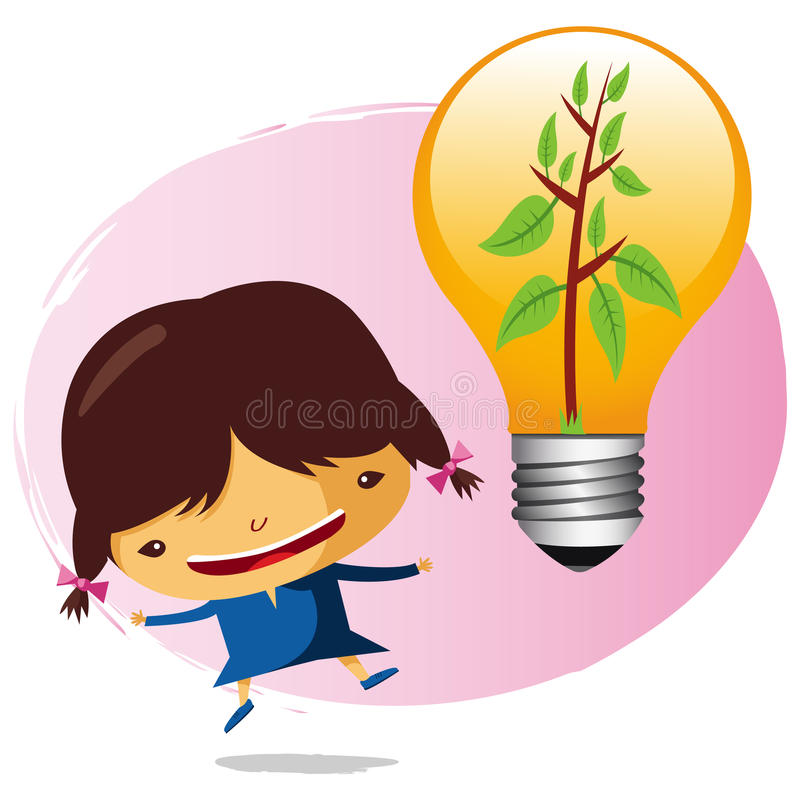 Ecological girl. With a saving bulb royalty free illustration