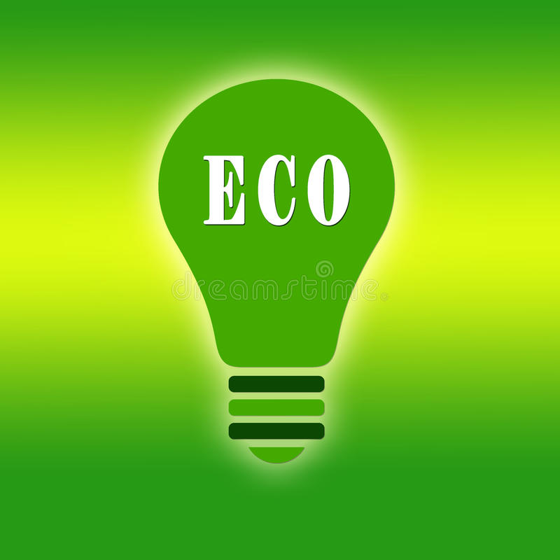 Ecological green bulb. Illustration of ecological green bulb royalty free illustration