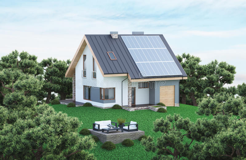 Download Ecological House With Solar Panels, Stock Illustration    Illustration Of Architecture, Innovative: