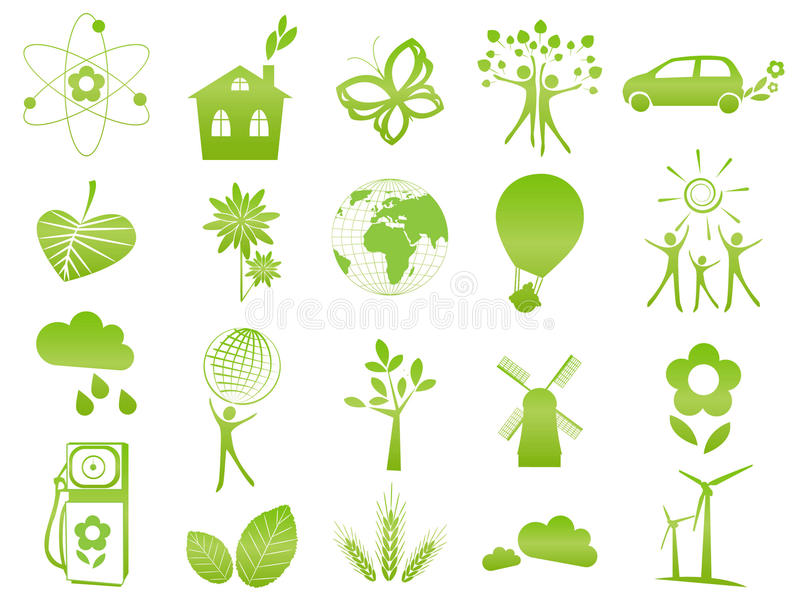 Ecological icons. Set of 20 ecological icons and signs