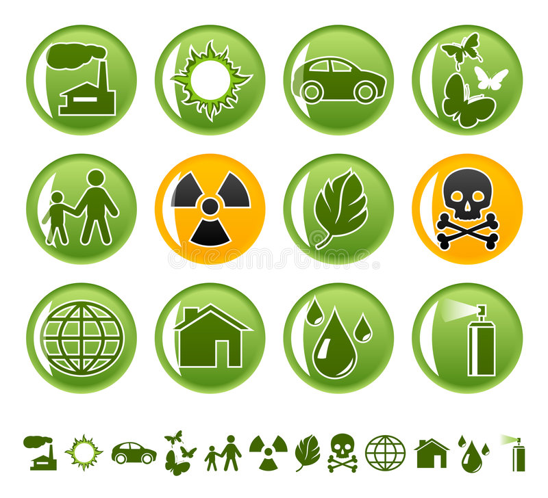 Ecological icons. On round buttons vector illustration
