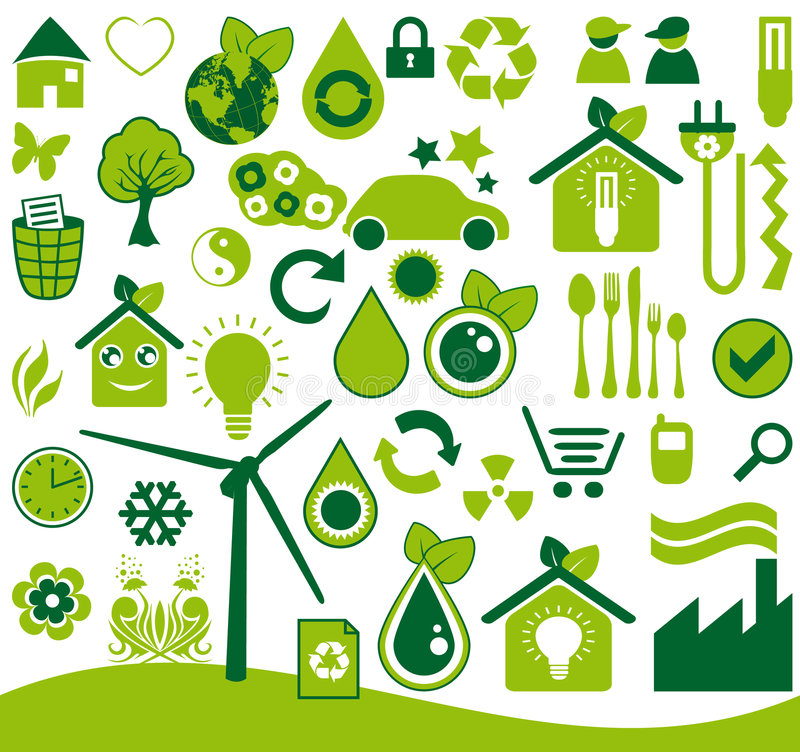 Download Ecological icons set stock vector. Image of home, symbol - 8532786