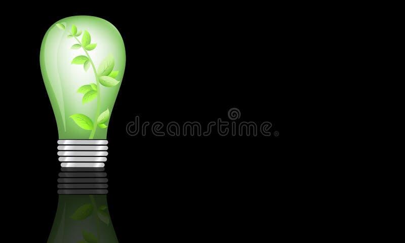 Ecological illustration of light bulb on dark background.  vector illustration