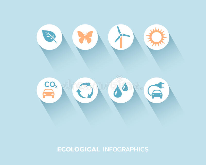 Ecological infographic with flat icons set. Vector illustration royalty free illustration