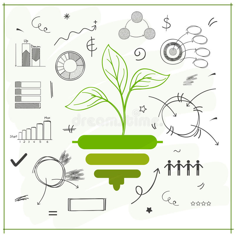Ecological infographic template layout. Ecological infographic template with illustration of green plant and other statistical elements royalty free illustration