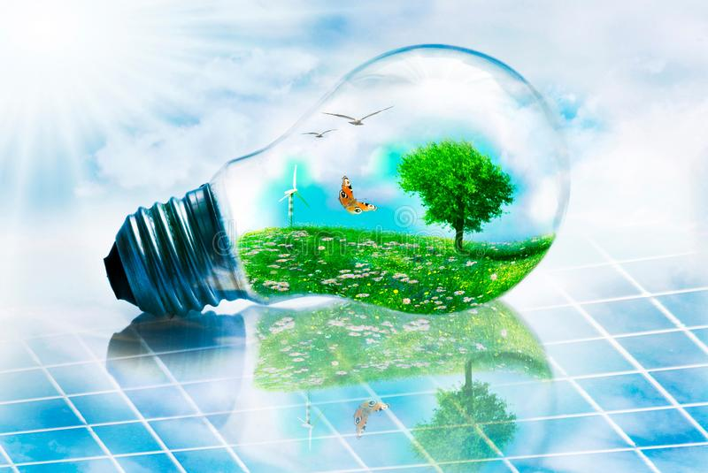 Ecological landscape inserted in a light bulb on a solar panel. Conceptual illustration of clean energy represented by an eco landscape in the bulb of a light royalty free illustration