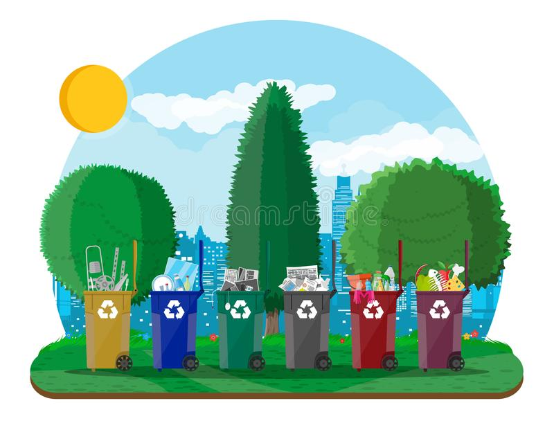 Ecological lifestyle concept. Can container, bag and bucket for garbage. Recycling and utilization equipment, trash segregation. Urban cityscape with trees royalty free illustration