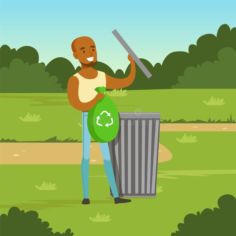 Ecological lifestyle concept with man character throwing garbage. Flat black man character throwing garbage into different containers in city park. Ecological stock illustration