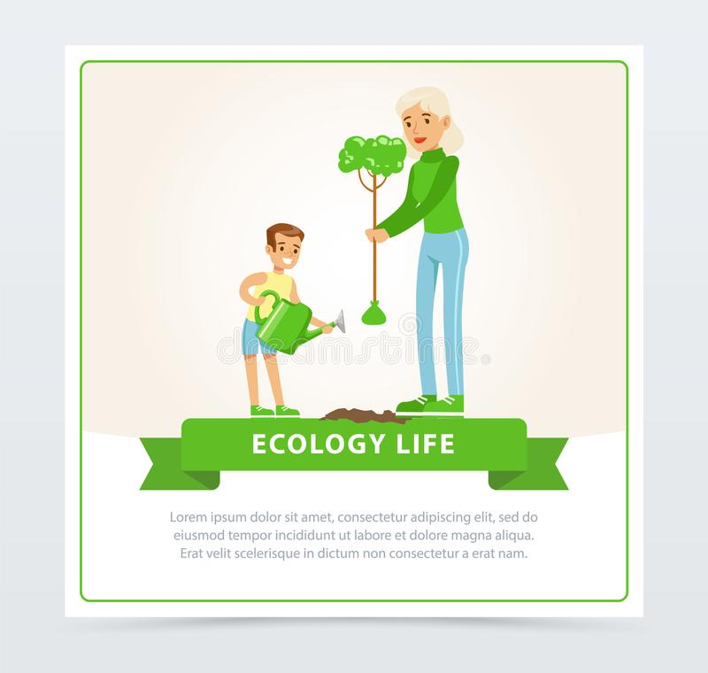 Ecological lifestyle concept with mom and son planting a tree. Mother and son characters planting a tree. Ecological lifestyle concept. Eco movement, people royalty free illustration