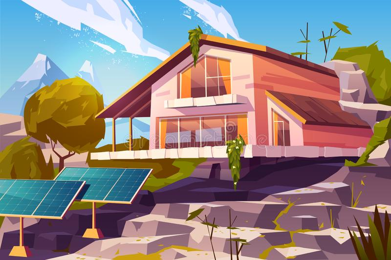 Country house in mountains cartoon vector royalty free illustration
