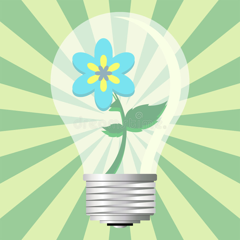 Ecological light bulb. Light bulb with ecological message over starry green background stock illustration