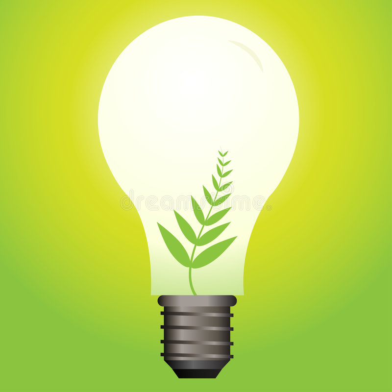 Ecological light bulb. Vector - Ecological or green light bulb with leaf as the filament stock illustration