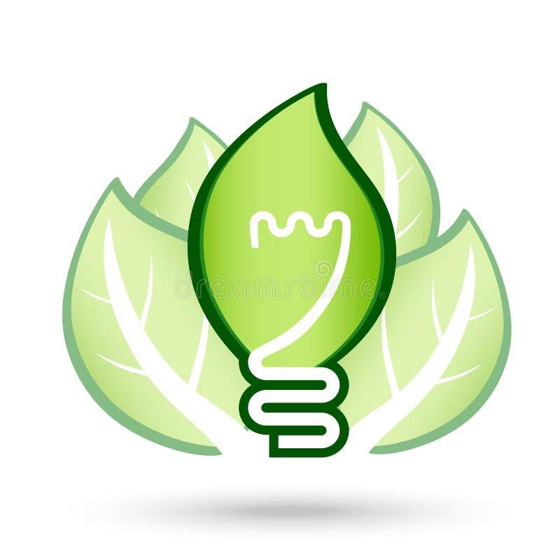 Ecological light bulb. Green Bulb with leaf on white background stock illustration