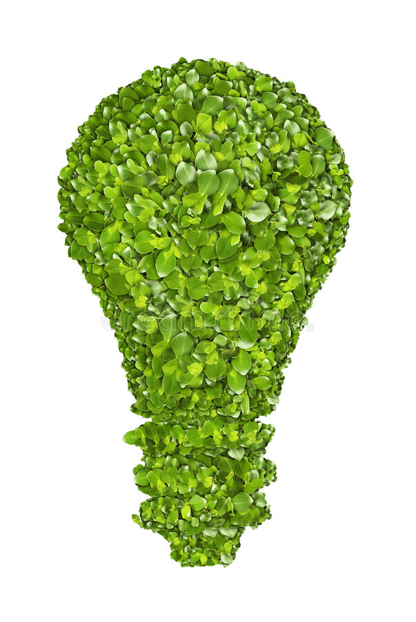 Ecological light bulb icon from the green grass. royalty free stock images