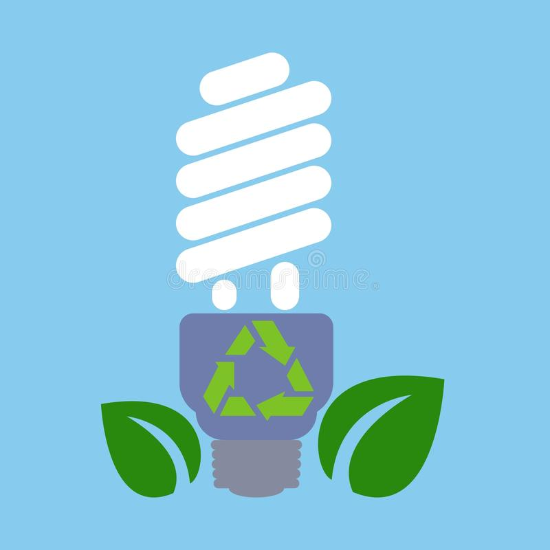 Ecological light bulb with leaves on a blue background. Environmentally world. Vector illustration. Ecological light bulb with leaves on a blue background. The royalty free illustration
